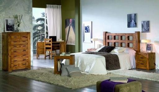Dormitorio de madera maciza de pino teñido, matrimonio y juvenil